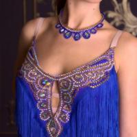 Blue and Gold Latin Fringe Dress