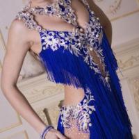Blue and Silver Lace Fringe Latin