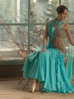 Flower petals aqua smooth gown