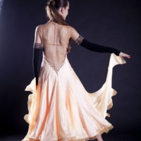 Peach and Golden Standard Gown