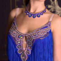 Blue and Gold Latin Fringe Dress