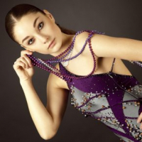 Steel and Purple Latin dress with Pearls