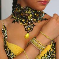 Yellow Fringe Latin dress with Black Lace
